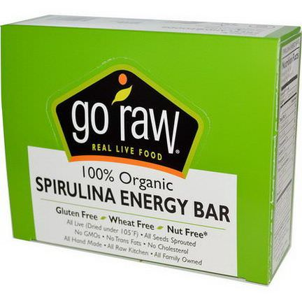 Go Raw, Organic Spirulina Energy Bars, 10 Bars, 14g Each