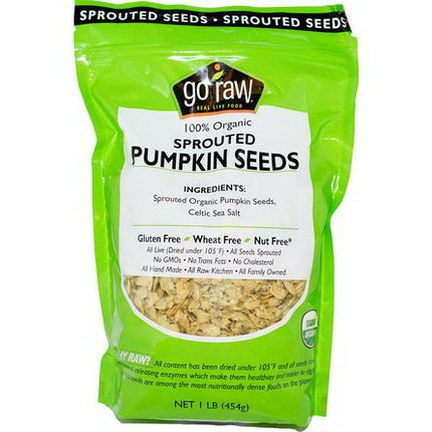 Go Raw, Organic Sprouted Pumpkin Seeds 454g
