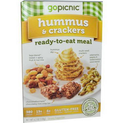GoPicnic, Ready-To-Eat Meal, Hummus&Crackers 120g