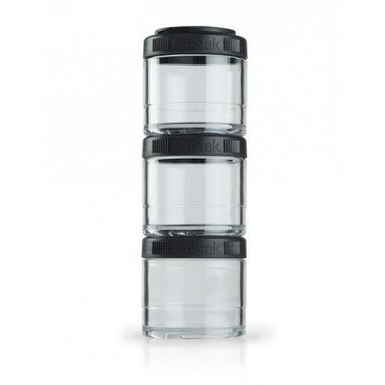 GoStak, Portable Stackable Containers, Black, 100 cc, 3 Pack