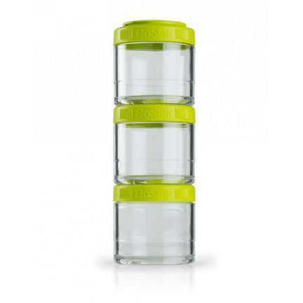 GoStak, Portable Stackable Containers, Green, 100 cc, 3 Pack