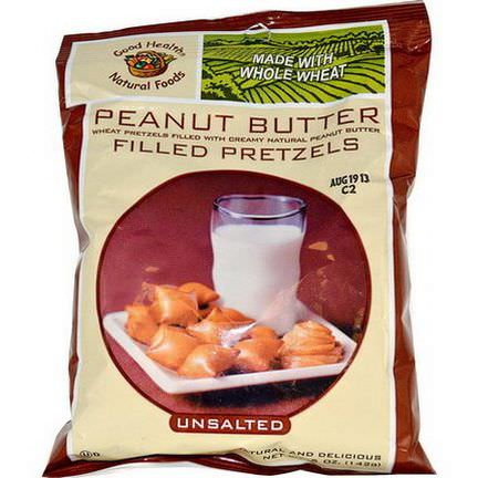 Good Health Natural Foods, Peanut Butter Filled Pretzels, Unsalted 142g