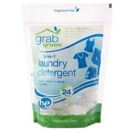GrabGreen, 3-in-1 Laundry Detergent, Fragrance Free 432g