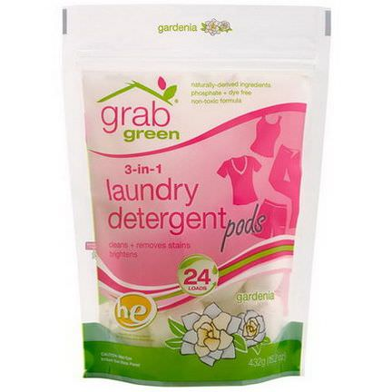 GrabGreen, 3-in-1 Laundry Detergent Pods, Gardenia, 24 Loads 432g
