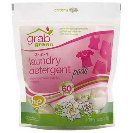 GrabGreen, 3-in-1 Laundry Detergent Pods, Gardenia, 60 Loads 1080g