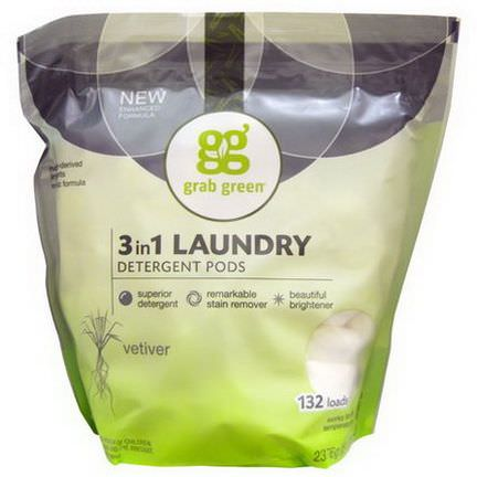 GrabGreen, 3 in 1 Laundry Detergent Pods, Vetiver, 132 Loads 2376g