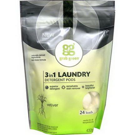 GrabGreen, 3 in 1 Laundry Detergent Pods, Vetiver, 24 Loads 432g