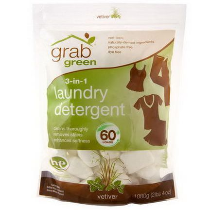GrabGreen, 3-in-1 Laundry Detergent, Vetiver, 60 Loads 1080g