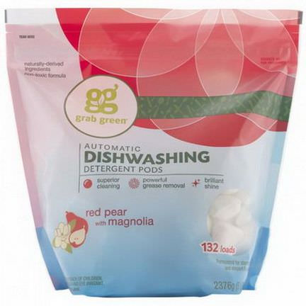 GrabGreen, Automatic Dishwashing Detergent Pods, Red Pear with Magnolia, 132 Loads 2376g