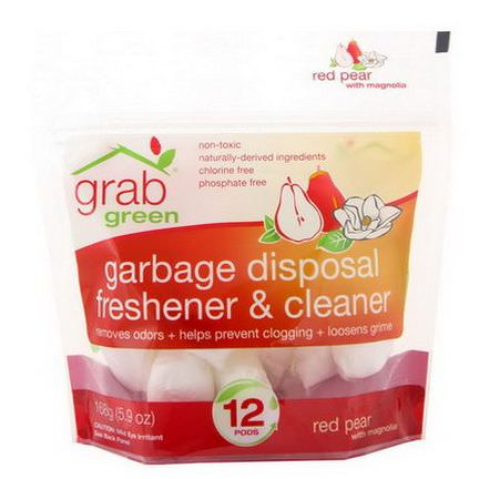 GrabGreen, Garbage Disposal Freshener&Cleaner, Red Pear with Magnolia, 12 Pods 168g