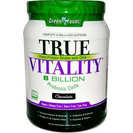 Green Foods Corporation, True Vitality, Plant Protein Shake with DHA, Chocolate 714g