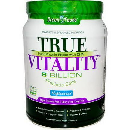 Green Foods Corporation, True Vitality, Plant Protein Shake with DHA, Unflavored 644g