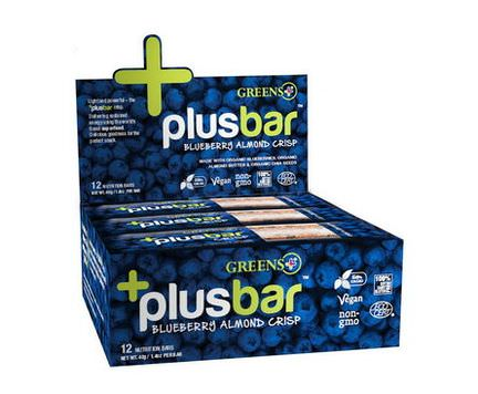Greens Plus, Chia Crisp, Blueberry Almond, 12 Bars 40g Each
