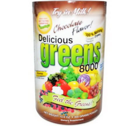 Greens World Inc. Delicious Greens 8000, Chocolate Flavor 300g Powder