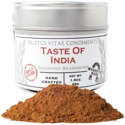 Gustus Vitae, Taste of India, Gourmet Seasoning, Salt Free 45g