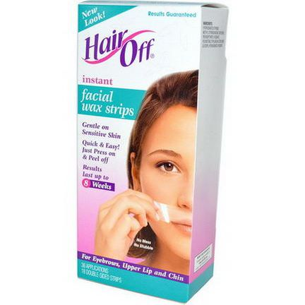 HairOff, Instant Facial Wax Strips, 18 Double-Sided Strips
