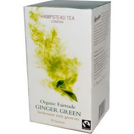 Hampstead Tea, Organic Fairtrade, Ginger Green, 25 Sachets 50g