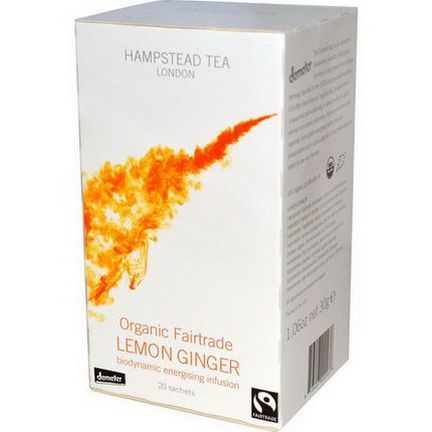 Hampstead Tea, Organic Fairtrade Lemon Ginger, 20 Sachets 30g