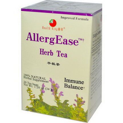 Health King, AllergEase Herb Tea, 20 Tea Bags 34g