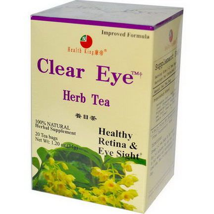 Health King, Clear Eye Herb Tea, 20 Tea Bags 34g