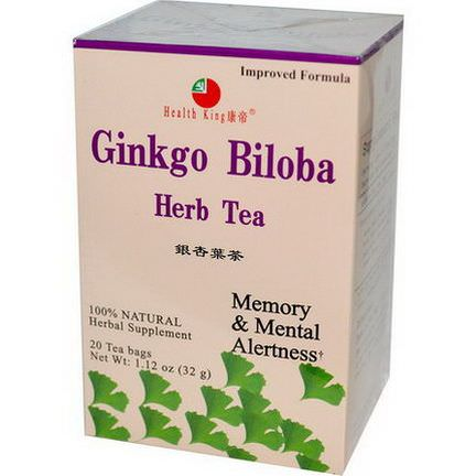 Health King, Ginkgo Biloba Herb Tea, 20 Tea Bags 32g