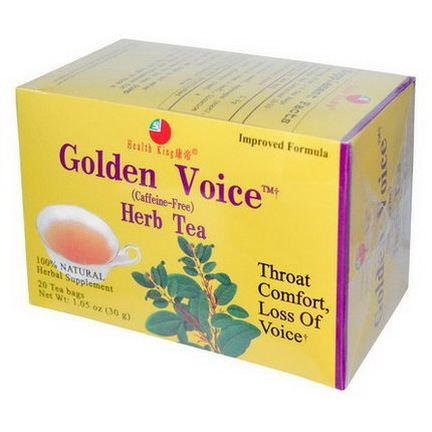 Health King, Golden Voice Herb Tea, Caffeine-Free, 20 Tea Bags 30g