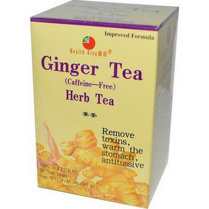 Health King, Herb Tea, Ginger, Caffeine Free, 20 Tea Bags 40g