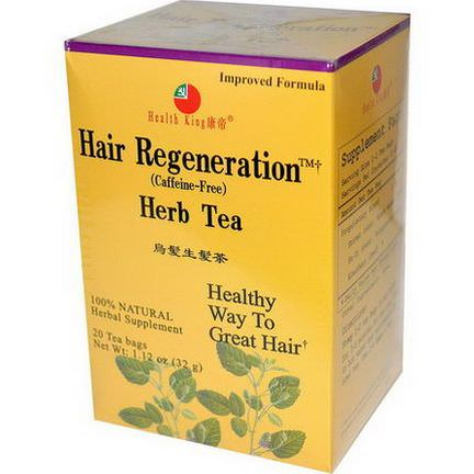 Health King, Herb Tea, Hair Regeneration, Caffeine-Free, 20 Tea Bags 32g