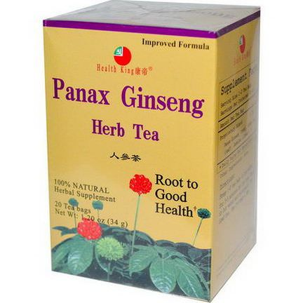 Health King, Panax Ginseng Herb Tea, 20 Tea Bags 34g