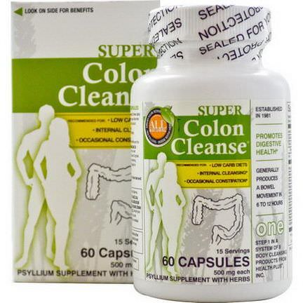 Health Plus Inc. Super Colon Cleanse, 500mg, 60 Capsules