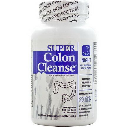 Health Plus Inc. Super Colon Cleanse, Night, 90 Capsules