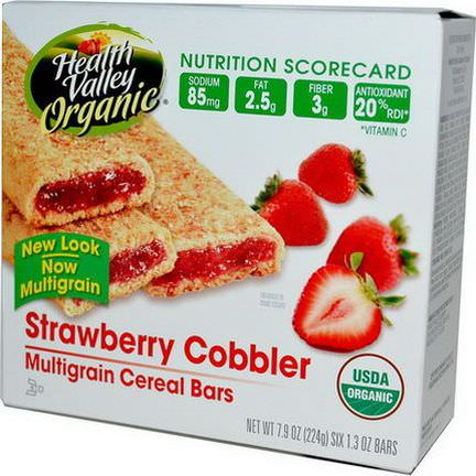 Health Valley, Organic Multigrain Cereal Bars, Strawberry Cobbler, 6 Bars, 37g Each