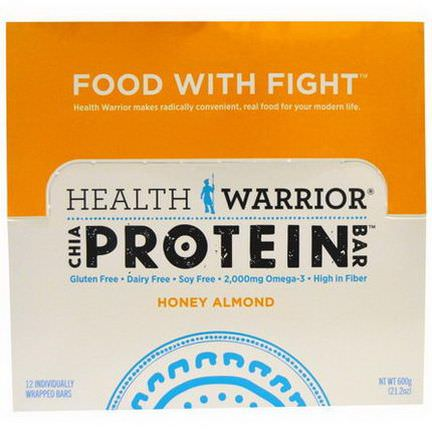 Health Warrior, Inc. Chia Protein Bar, Honey Almond, 12 Bars 600g