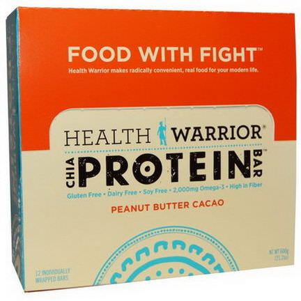 Health Warrior, Inc. Chia Protein Bar, Peanut Butter Cacao, 12 Individually Wrapped Bars