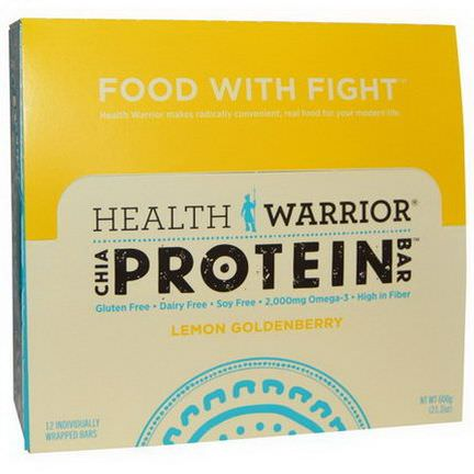 Health Warrior, Inc. Chia Protein Bars, Lemon Goldenberry 50g Each