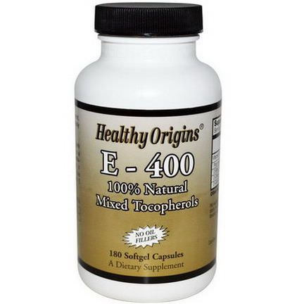 Healthy Origins, E-400, 400 IU, 180 Softgel Capsules