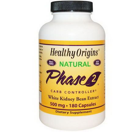 Healthy Origins, Phase 2 Carb Controller, White Kidney Bean Extract, 500mg, 180 Capsules