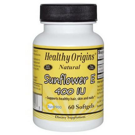 Healthy Origins, Sunflower E, 400 IU, 60 Softgels
