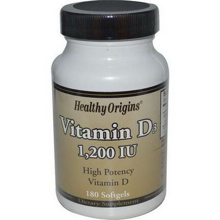 Healthy Origins, Vitamin D3, 1,200 IU, 180 Softgels
