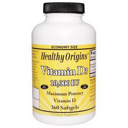Healthy Origins, Vitamin D3, 10,000 IU, 360 Softgels