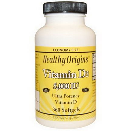 Healthy Origins, Vitamin D3, 5,000 IU, 360 Softgels