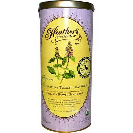 Heather's Tummy Care, Tummy Teas, Organic Peppermint Tea Bags, Caffeine Free, 36 Extra Large Tea Bags