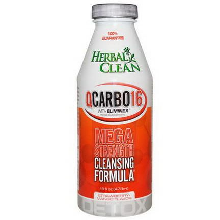 Herbal Clean, QCarbo16 With Eliminex, Strawberry-Mango Flavor 473ml