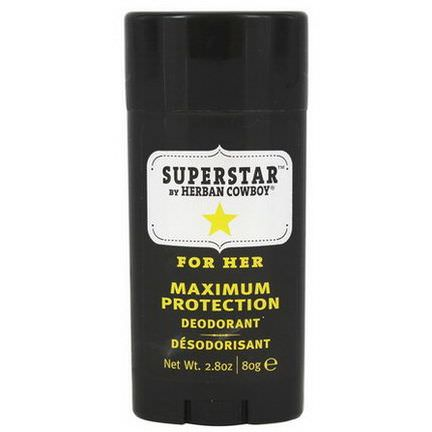Herban Cowboy, Maximum Protection Deodorant, For Her, Superstar 80g