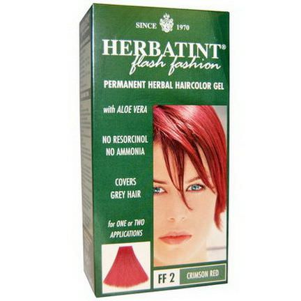 Herbatint, Flash Fashion, Permanent Herbal Haircolor Gel, FF 2 Crimson Red 135ml