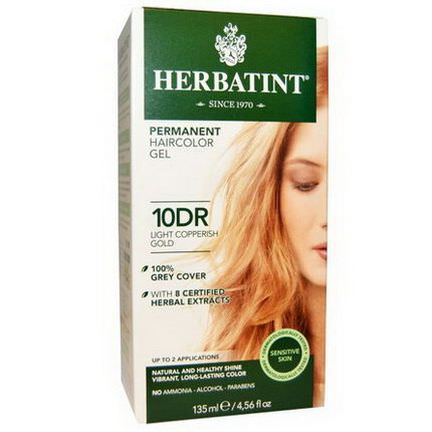 Herbatint, Permanent Haircolor Gel, 10DR, Light Copperish Gold 135ml