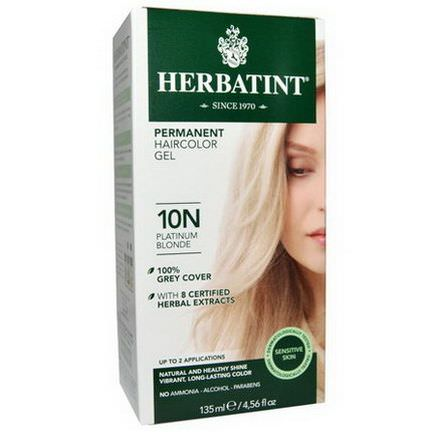 Herbatint, Permanent Haircolor Gel, 10N Platinum Blonde 135ml