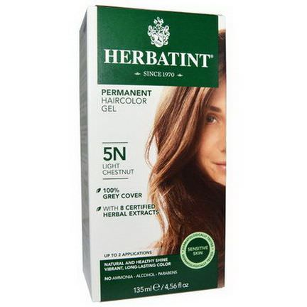 Herbatint, Permanent Haircolor Gel, 5N, Light Chestnut 135ml