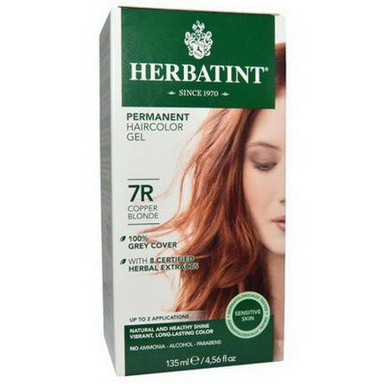 Herbatint, Permanent Haircolor Gel, 7R, Copper Blonde 135ml