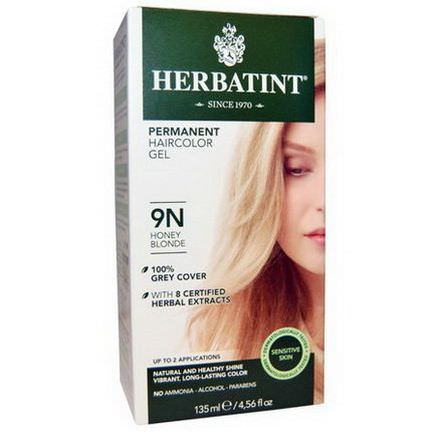 Herbatint, Permanent Haircolor Gel, 9N, Honey Blonde 135ml